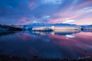 Jökulsárlón gletsjermeer glacier lagoon sunset zonsondergang fotografie Andrea Liebrand